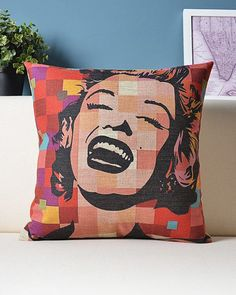 Oh Marilyn Pillow - has a canvas shell with a single-sided front graphic detail. Perfect compliment to any living room, bedroom, car, office, etc. Who doesn't love Marilyn? #streetstyle