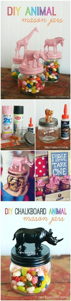 DIY Beautiful Animal Mason Jars - 160+ DIY Mason Jar Crafts and Gift Ideas - DIY & Crafts