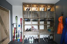 Condominium Ski-in Ski-out Chalet Design, Condo Design, Drying Room, Arcade, Condo Decorating, Mudroom, Barn Wood, Skiing, Snowboarding