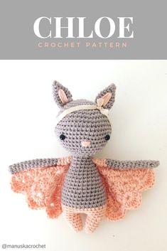 Chloe, the little bat girl. Crochet bat pattern. Crochet pattern, amigurumi pattern, bat pattern