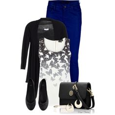 """""""Electric blue skinny jeans"""" by madamedeveria on Polyvore"""