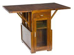 Comprar mesa botellero plegable de madera color nogal con cajón y puerta. Venta de muebles al precio más económico en tienda online de decoración.