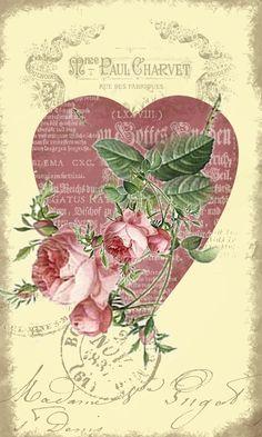 linda lámina corazón y flores