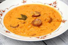 Káposztaleves kovászolt káposztából recept Thai Red Curry, Food And Drink, Ethnic Recipes, Soups, Soup