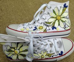 07274b05b9de Hand Painted White and Yellow Daisies on Converse Chucks HI tops for Women  Girls Wedding Reception
