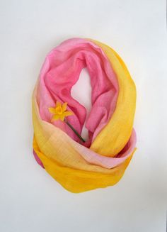 Cute Boho Scarves  Yellow and Pink Scarf  Traditional by lyralyra, $32.00