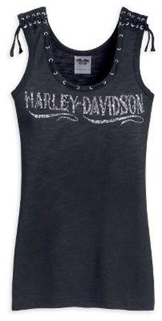 Harley Davidson Womens Rhinestone Laced Tank Top Shirt NEW Harley Davidson Shirts, Harley Davidson Merchandise, Harley Shirts, Classic Harley Davidson, Harley Panhead, Harley Davidson Knucklehead, Rock Elegante, Harley Davidson Kleidung, Tank Top Shirt