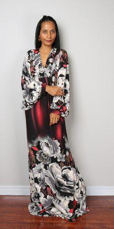 Maxi Dress Boho Floral Dress Long Wide Sleeve Maxi by Nuichan