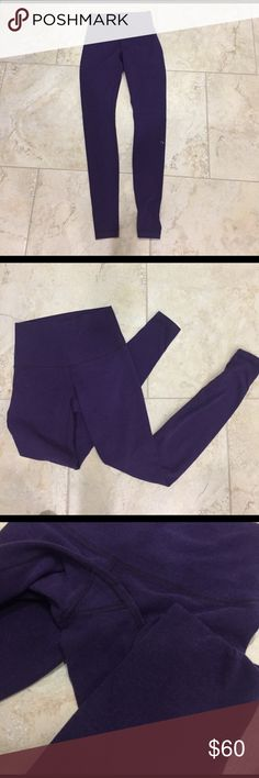 Lululemon Wunder Under Leggings Great used condition! I actually bought them on here, but they ended up not fitting me right. However, they came to me only worn a few times and truly reflect that. They are so comfy and are such an unusual color - the heathered purple! They are the Luon material! Really no pilling at all but have a soft feel to them bc of the material. Sad to let them go! lululemon athletica Pants Leggings