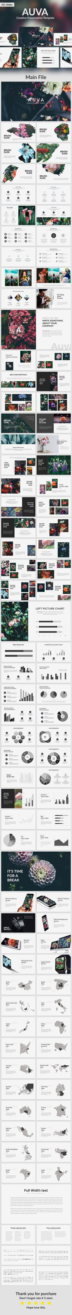 Auva - Creative Google Slide Template - #Google #Slides Presentation #Templates Download here: https://graphicriver.net/item/auva-creative-google-slide-template/19432303?ref=alena994