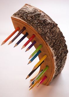 Made of birch tree. There will be slight variations and difference from pencil holder pictured here above.  Wooden pencil holder in elegant modern