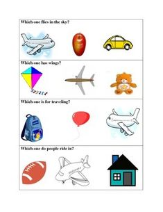 Feature, function class worksheet for airplane and apple. Aba Therapy Activities, Therapy Worksheets, Autism Activities, Language Activities, Montessori Activities, Nursery Worksheets, Kindergarten Worksheets, Speech Therapy
