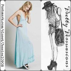 NWT Free People Maxi Slip Dress Romanic crinkly crepe v-neck maxi slip with sweet lace trims, straps & subtle cutouts along the armholes.   Fair offers  Bundle Discounts NO pp or trades Free People Dresses