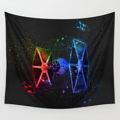 TIE Fighter Splash Painting Wall Tapestry home decor - artwork available on over 30 different products from home styling to fashion and phone cases #homedecor #wallart #prints #phonecases #bedding #bathroom #fashion #trending #style