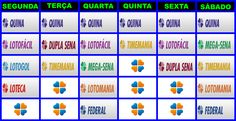 Tabela Sorteios do Dia das Loterias da Caixa