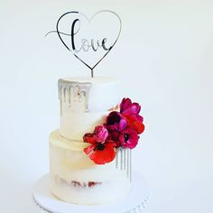 Engagement Cake: 2 tier with semi-naked buttercream, hand painted silver drip, fresh blooms and custom acrylic topper by Studio Silver Cake, Engagement Cakes, White Chocolate, Frost, Wedding Cakes, Naked, Design Ideas, Hand Painted, Studio