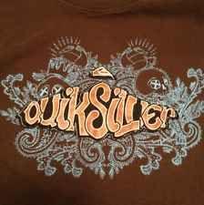Quiksilver Mens Shirt L Brown Crown Rose Skull Art Surf Punk Skate Cool Blue