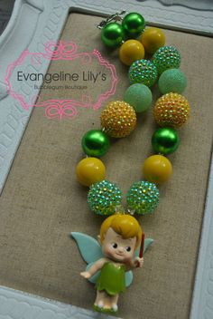 Disney's Tinkerbell Chunky Bubblegum Necklace by EvangelineLilys, $20.00