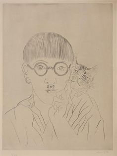 Cats in Art and Illustration: Tsugouhara Foujita, Self Portrait with Cat, 1927, drypoint