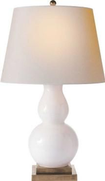 Gourd Lamp In White Glass With Natural Paper Shade On A Gold Wooden Base  Base 7.5