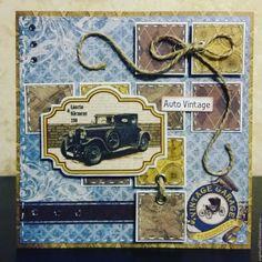 """Купить Мужская открыточка """"Авто винтаж"""" - комбинированный, подарок мужчине, Открытка ручной работы, автомобиль Box Photo, Masculine Cards, Tim Holtz, Homemade Cards, Cardmaking, Stampin Up, Decoupage, Birthday Cards, Envelope"""