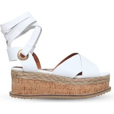 KG KURT GEIGER Noah leather flatform sandals ($170) ❤ liked on Polyvore featuring shoes, sandals, white, white flatform sandals, white platform shoes, white strap sandals, leather strap sandals and leather platform sandals