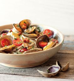Linguine with Clams, Pancetta and Tomatoes | Steam clams with a little white wine and red pepper flakes, then toss with pasta. Dinner couldn't be easier.