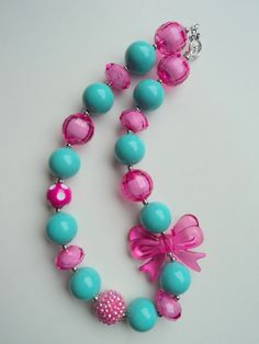 Pink and Teal Chunky bead necklace..chunky by GirlzNGlitter, $16.50