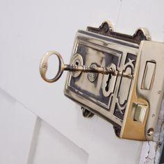 Cast Iron Carpenter Rim Lock Set With Brass Knobs & Trim   Door ...