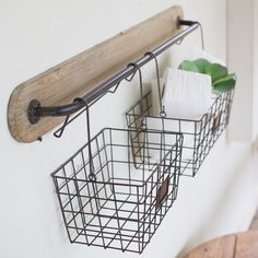AntiqueFarmHouse Wall Bracket With Wire Baskets | http://www.antiquefarmhouse.com/wall-bracket-with-wire-baskets.html