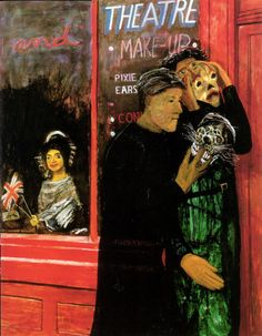Carel Weight - Trying on masks, 1972