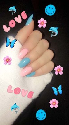 Festive Fun Nails - Spring and Summer Nails and Colors For 2019 Blue Acrylic Nails, Summer Acrylic Nails, Pink Blue Nails, Blue Glitter, Colourful Acrylic Nails, Coffin Acrylics, Acrylic Art, Glitter Nails, Gender Reveal Nails
