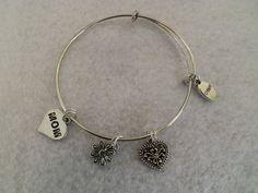 Mom Charm Bracelet Mom Bangle bracelet Mom by CraftingMemoriesOhio