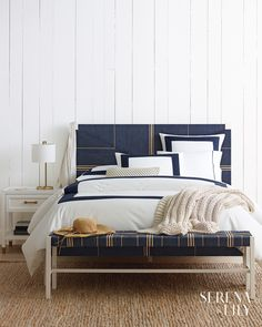 Modern coastal design is a fresh take on the traditional coastal style. View gorgeous images and learn how to create this look in your own home. Bed Sets, Design Hotel Paris, Boudoir, Navy Furniture, King Sheet Sets, Luxury Bedding Sets, Bed Duvet Covers, Printed Cushions, Design Studio