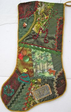 I ❤ crazy quilting and embroidery . . .   Stocking for Mike 2008 ~By Crazybydesign