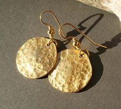 Gold Disc Earrings Ancient Egyptian Jewelry Brass Earrings. $32.00, via Etsy.