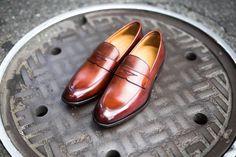 4b64b378123 Paul Evans Handmade Italian Leather Men s Dress Shoes - The Stewart Penny  Loafer - Cognac Paul