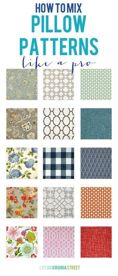 Tips and tricks to mix throw pillow patterns like a pro! Also includes where to buy down inserts. favorite pillow sizes and a tutorial if you want to make your own pillows!