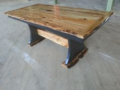 trestle dining table black base spalted maple top and accents Trestle Dining Tables, Spalted Maple, Table Legs, Old Antiques, Base, Rustic, Top, Furniture, Ideas