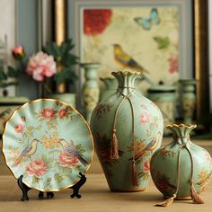家居装饰品客厅玄关摆件工艺品摆设花鸟陶瓷花瓶装饰盘三件套