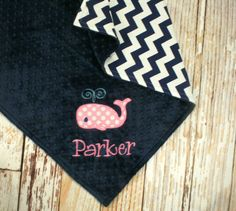 Personalized Whale Baby Blanket - Whale Applique and embroidered name included on Etsy, $47.00