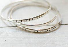 3 bracelet  jonc argent massif , 3 mm ,SUR COMMANDE ligne , point , uni , indémodable , ethnique, minimaliste
