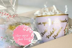 Wow! this is a fantastic gift and craft idea with vintage tea cups, hankies and personalized calligraphy...love it!