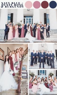 So you're thinking about choosing shades of blush and burgundy for your bridesmaids? Well, I couldn't recommend this color palette more, just look at how beautiful all these mismatched dresses turned Maroon Wedding Colors, Burgundy And Blush Wedding, Mauve Wedding, Spring Wedding Colors, Blush Wedding Palette, August Wedding Colors, Dream Wedding, Navy Blue Bridesmaid Dresses, Bridesmaid Color