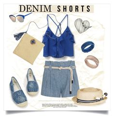 """""""Textures!"""" by metter1 ❤ liked on Polyvore featuring L'Agence, MANGO, JustFab, Whiteley, Benoît Missolin, Swarovski, jeanshorts, denimshorts and cutoffs"""