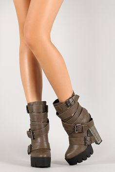 Strappy Buckle Lug Sole Studded Boot