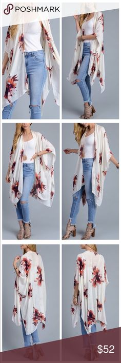 Spring Garden Party Kimono New! Beautiful floral kimono. Ivory with amazing floral prints with hues of blush pinks, corals, plums, with small hints of blue. Lightweight and midi length. October Love Tops