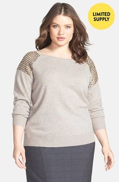 Halogen® Embellished Shoulder Cashmere Sweater (Plus Size) (Online Only) available at #Nordstrom