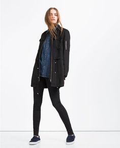 Image 1 of LONG BOMBER JACKET from Zara
