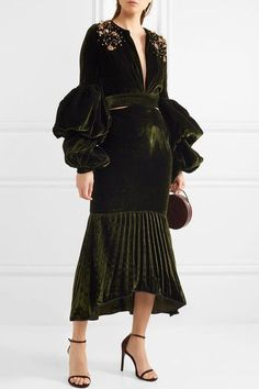 Johanna Ortiz | Analetta cutout embellished velvet midi dress | NET-A-PORTER.COM
